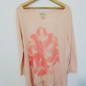 3/4 sleeve Lucky Brand pink shirt w large flower